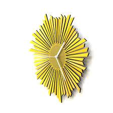 Wooden Wall Clock The Sun Stylish Yellow Golden Wooden Wall Clock Gadget Flow