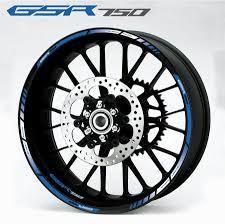 Gsr 750 Suzuki Suzuki Gsr 750 Logo Wheel Stripes And Decals Set In White Blue