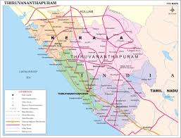 India On A Map by Thiruvananthapuram District Map Kerala District Map With