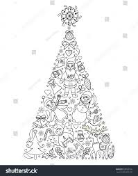 vector illustration hand drawn christmas treecoloring stock vector