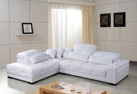 White Leather Sofa Sectional White Leather Sectional Sofa With Adjustable Headrests Modern