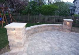Patio Column Lights 2 Pillar Patio With Sitting Wall Contact Us For A Free