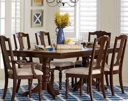 glendive brown cherry double pedestal dining table for 479 94