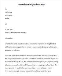 immediate resignation letter resignation letter with immediate