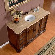 Bathroom Vanities With Tops Single Sink by Silkroad 60 Inch Antique Single Sink Bathroom Vanity Cream Marfil