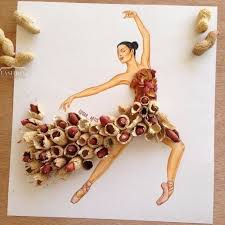 fashion design sketching ideas with peanuts and colored pencils