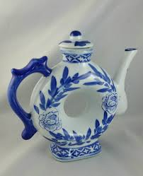 shaped teapot vintage porcelain blue and white donut teapot donut