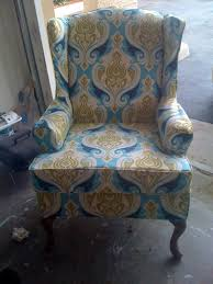 Wingback Chair Slipcover Pattern Blue Cream Wing Back Chair With Arm Rest And Curving Black Wooden