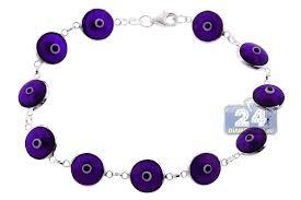 evil bracelet images Sterling silver purple evil eye womens luck bracelet 10mm 7 5 quot jpg