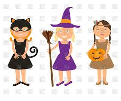 little girls in halloween costumes black cat witch and