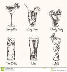 vintage cocktail set set cocktail cosmopolitan beer mojito vector drawn stock vector