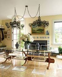Chandeliers Dining Room Dining Room With Double Swag Chandeliers Over Dining Table With