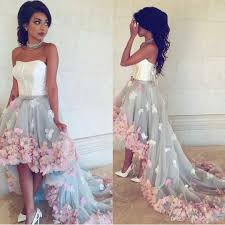 exquisite flower high low prom dress with sash 2017 strapless