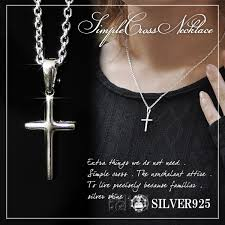 silver cross necklace pendants images Shinjuku gin no kura rakuten global market small simple cross jpg