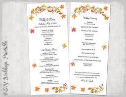 fall wedding programs fall wedding program template fall leaves