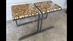 build process modern steel side tables with spalted maple end