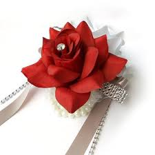Red Rose Wrist Corsage Colorful Artificial Flower Wedding Bouquet Corsage Double Open