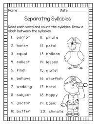 syllable patterns v cv vc v and vc cv no prep worksheets tpt