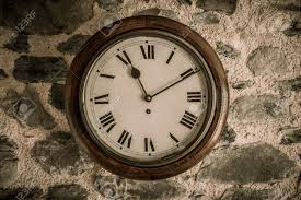 vintage wooden wall vintage wooden wall clock on wall stock photo picture and