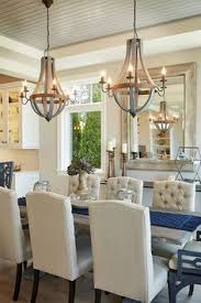 Home Chandelier Glamorous Chandelier With A Wooden Farm Table Interior Decor Home