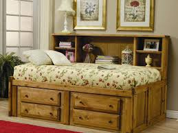platform bed rustic twin bed frame with storage and bookcase on