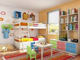 Youth Bedroom Wall Colors Decoration Appealing Small Kids Room Ideas With Wooden Loft
