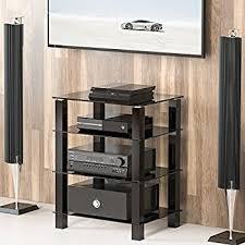 amazon com mount it av component media stand glass shelves