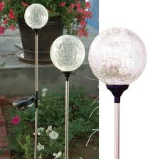 Round Solar Lights by Amazon Com Solaration174 Crackle Glass Globe Solar Lawn Light