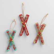 handcrafted of wood our set of three ski ornaments are ready for