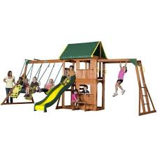 Backyard Playground Slides by Swing Sets Backyard Children Kids Outdoor Wood Playground