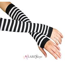 Black White Striped Halloween Costume Striped Black White Fingerless Gloves Arm Warmers Gauntlets
