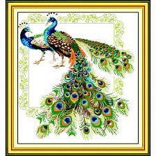 lucky peacocks 14ct counted embroidery set needlework diy dmc cross