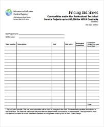 Bid Sheet Template Bid Sheet Templates Free Sle Exle Format