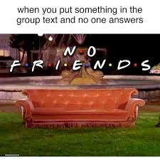 No Friends Meme - when you put something in the group text and no one answers no