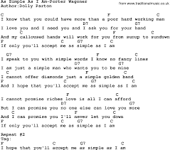 simple man lyrics printable version country music as simple as i am porter wagoner lyrics and chords