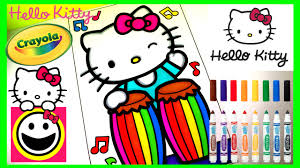 hello kitty playing the conga drums crayola coloring page