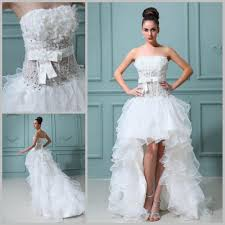 high low wedding dress discount high low wedding dress strapless ruffles organza