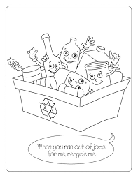 recycling coloring kids free printable picture