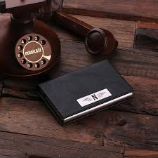 wood gifts personalized leather business card holder with wood gift box