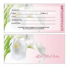 salon gift card gift certificates printing for nail salon