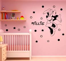 how to decorate girls room with personalized vinyl wall stickers disney minnie mouse personalized decals