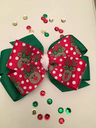 rudolph hair bow christmas reindeer hair bow red and green