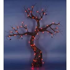 penn 5 lighted spooky black rattan tree with bats yard