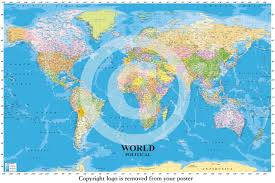Sea World Map World Political Map With Sea Contours Educational Maxi Paper