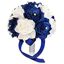 blue wedding bouquets made satin ribbon bridal wedding bouquet for