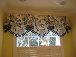 Bathroom Window Valance Ideas Empire Swag Valance In Blue And White Classic Empire Swag U2026 Flickr