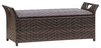 izidora outdoor storage ottoman brown wicker contemporary