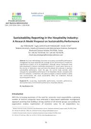 sustainability reporting in the hospitality industry a research