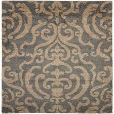 4x4 Area Rugs Safavieh Florida Shag Gray Beige 6 Ft 7 In X 6 Ft 7 In Square