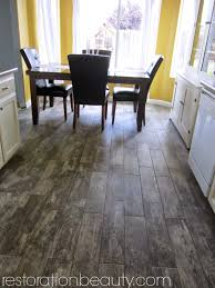 restoration faux wood tile flooring in the kitchen